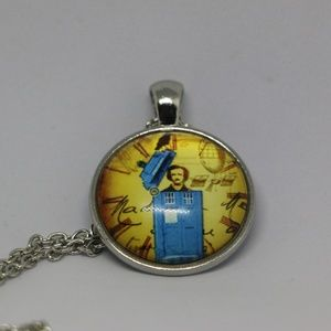 Edgar Allan Poe in Tardis Pendant Necklace